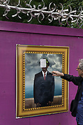 London, England, UK, May 31 2018 - Housing activist Piers Corbyn in front of pictures of former residents at Aylesbury Estate,  a housing estate in Walworth, South East London. <br /> Aylesbury  estate, once the largest estate in Europe, is currently undergoing a major regeneration programme by demolishing and replacing of the dwellings with modern houses controlled by a housing association. Some residents and activists including Mr. Corbyn still protest against the demolition and the gentrification of London.<br /> London is facing a major housing crisis, due to rising cost and under-supply.