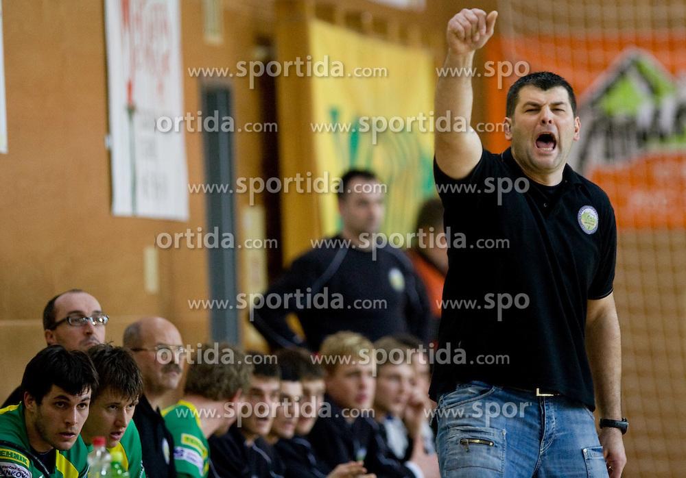 Coach of Merkur Gregor Cvijic at 1st MIK Handball League match between RD Merkur Skofja Loka and RK Celje Pivovarna Lasko, on February 6, 2010 in Arena Poden, Skofja Loka, Slovenia. The teams drew a tie 28:28. (Photo by Vid Ponikvar / Sportida)