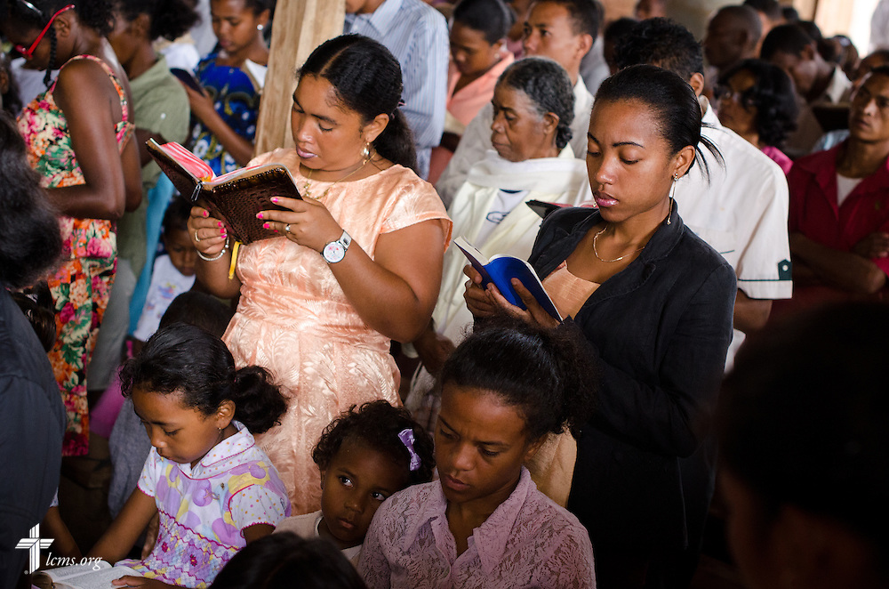 Parishioners sing hymns at the beginning of worship at Ivato Lutheran Church in the capital city of Antananarivo in Madagascar, on Sunday, Feb. 9, 2014. LCMS Communications/Erik M. Lunsford