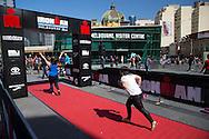 General Public, March 19, 2014 - Ironman Triathlon : Visitors to Federation Square compete in the instant triathlon. Tougher Than An IRONMAN, Federation Square, Melbourne, Victoria, Australia. Credit: Lucas Wroe