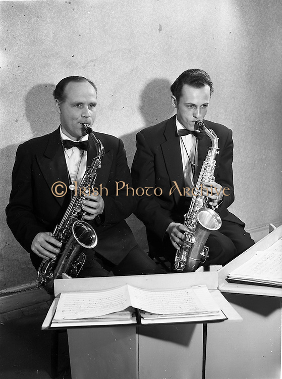 16/05/1956<br /> 05/16/1956<br /> 16 May 1956<br /> The new Sham Wilkinson Band at 23 Parliament Street, Dublin. The Saxophones.