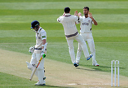 Somerset's Lewis Gregory celebrates the wicket of Middlesex's Sam Robson. - Photo mandatory by-line: Harry Trump/JMP - Mobile: 07966 386802 - 29/04/15 - SPORT - CRICKET - LVCC Division One - County Championship - Somerset v Middlesex - Day 4 - The County Ground, Taunton, England.