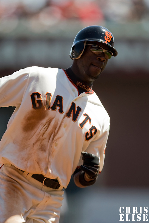 13 April 2008: #14 Fred Lewis of the Giants runs the bases during the San Francisco Giants 7-4 victory over the St. Louis Cardinals at the AT&T Park in San Francisco, CA.