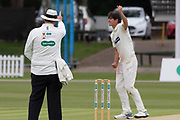 Umpire Graham Lloyd upholds Chris Wright appeal against Tony Palladino for LBW during the Specsavers County Champ Div 2 match between Leicestershire County Cricket Club and Derbyshire County Cricket Club at the Fischer County Ground, Grace Road, Leicester, United Kingdom on 29 May 2019.