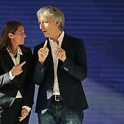 La tennista Roberta Vinci con Riccardo Luna al primo Italian Digital Day, incontri e dibattiti dedicati all'innovazione digitale in Italia organizzato alla Reggia di Venaria Reale (TO) 21/11/2015