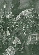 Londoners celebrating the news of the relief of Mafeking.  In the Second Boer War the British were besieged  at Mafeking from 12 October 1899-17 May 1900. Engraving