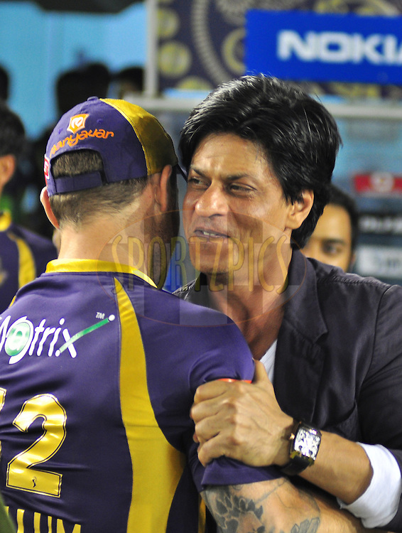 Kolkata Knightriders owner Shahrukh khan during match 22 of the the Indian Premier League ( IPL) 2012  between The Kings X1 Punjab and The Kolkata Knightriders held at the Punjab Cricket Association Stadium, Mohali on the 18th April 2012..Photo by Arjun Panwar/IPL/SPORTZPICS.