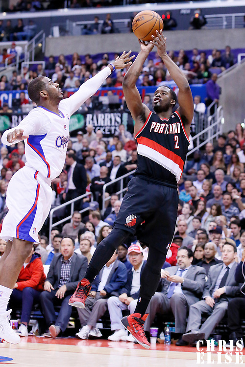 12 February 2014: Portland Trail Blazers shooting guard Wesley Matthews (2) takes a jumpshot over Los Angeles Clippers point guard Chris Paul (3) during the Los Angeles Clippers 122-117 victory over the Portland Trail Blazers at the Staples Center, Los Angeles, California, USA.