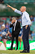 SYDNEY, AUSTRALIA - APRIL 06: Melbourne Victory coach Kevin Muscat points to his team as Sydney FC coach Steve Corica holds his head at round 24 of the Hyundai A-League Soccer between Sydney FC and Melbourne Victory on April 06, 2019, at The Sydney Cricket Ground in Sydney, Australia. (Photo by Speed Media/Icon Sportswire)