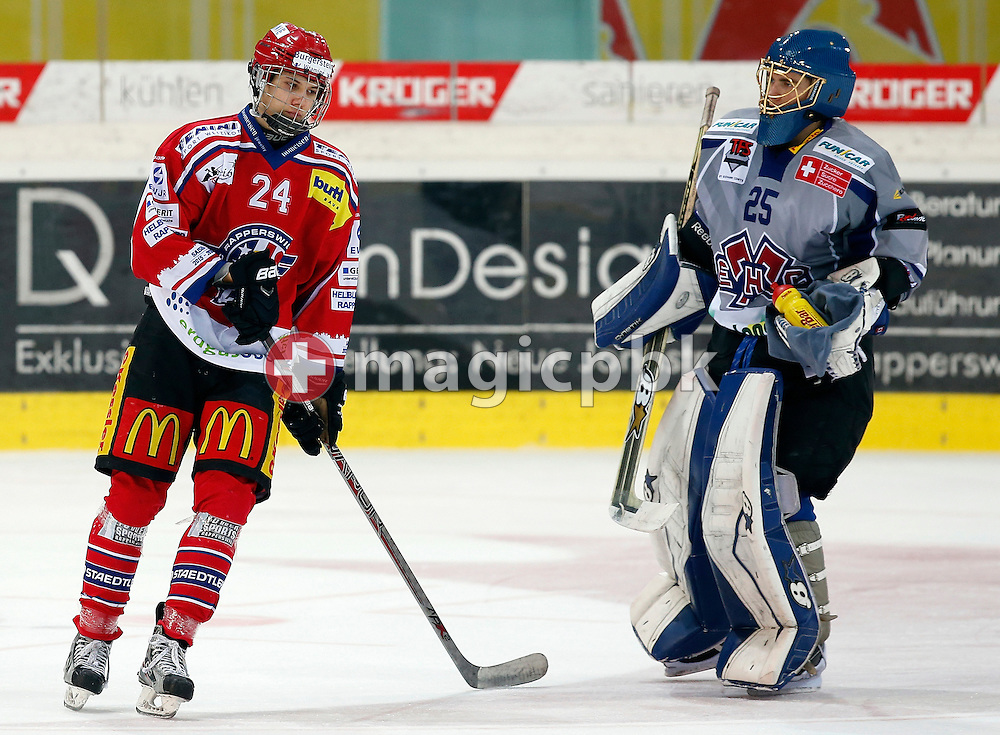 Rapperswil-Jona Lakers defenseman Lars Mathis (L) is pictured during an Elite A Ranking Round 9-13 ice hockey game between Rapperswil-Jona Lakers and EHC Biel-Bienne Spirit held at the Diners Club Arena in Rapperswil, Switzerland, Sunday, Feb. 28, 2016. (Photo by Patrick B. Kraemer / MAGICPBK)
