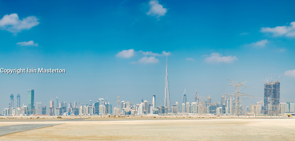 Daytime skyline of Dubai and Burj Khalifa in United Arab Emirates