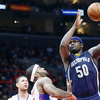 09 November 2015: Memphis Grizzlies forward Zach Randolph (50) goes for the baby hook over Los Angeles Clippers forward Josh Smith (5) during the Los Angeles Clippers 94-92 victory over the Memphis Grizzlies, at the Staples Center, in Los Angeles, California, USA.
