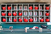 ANAHEIM, CA - JUNE 05:  The Los Angeles Angels of Anaheim dugout is lined bats, batting helmets, and gloves for the game against the New York Yankees on June 5, 2011 at Angel Stadium in Anaheim, California. The Yankees won the game 5-3. (Photo by Paul Spinelli/MLB Photos via Getty Images)