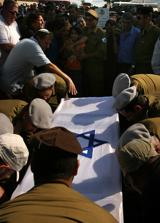 Funeral of Israeli soldier David Amar in the northern Israel town of Kiryat Shmona. Amar was killed Sunday during fighting with Hezbollah guerrillas in southern Lebanon..Aug. 16, 2006....