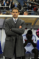 FOOTBALL - FRENCH LEAGUE CUP 2011/2012 - FINAL - OLYMPIQUE LYONNAIS v OLYMPIQUE MARSEILLE - 14/04/2012 - PHOTO JEAN MARIE HERVIO / REGAMEDIA / DPPI - DISAPPOINTMENT REMI GARDE (COACH OL) AT THE END OF THE MATCH