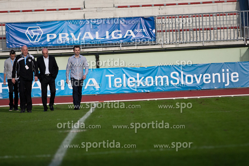 Head coach Dusan Kosic of NK Triglav and head coach Milos Rus after football match between NK Triglav and NK Celje in 28th Round of Slovenian First League PrvaLiga NZS 2012/13 on April 14, 2013 in Sports park Kranj, Slovenia. Triglav defeated NK Celje 1-0. Kranj, Slovenia. (Photo by Grega Valancic / Sportida)