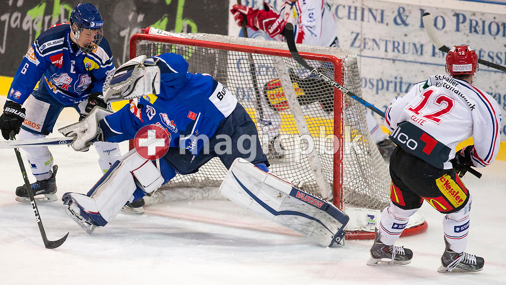 Rapperswil-Jona Lakers forward Nicola Meier (R) scores to the score of 1-1 against ZSC Lions goaltender Patrick Frey (C) and Samuel Julius Fischer during the fourth Elite B Playoff Final ice hockey game between ZSC Lions and Rapperswil-Jona Lakers in Duebendorf, Switzerland, Friday, Mar. 17, 2017. (Photo by Patrick B. Kraemer / MAGICPBK)