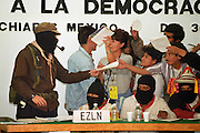Marcos signs autographs after a session at the Forum on Indigenous Rights in San Cristobal de las Casas, Chiapas, 1995
