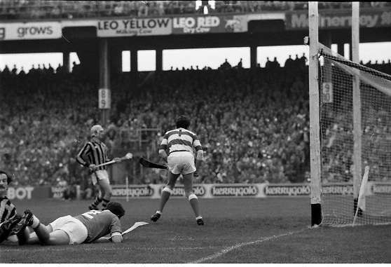 All Ireland Hurling Final - Cork vs Kilkenny.05.09.1982.09.05.1982.5th September 1982.Image taken at Croke Park,Dublin. Cork goalkeeper, Ger Cunningham,cannot prevent the ball crossing the line for a Kilkenny goal..