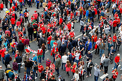 General View as supporters wait outside the stadium  for the team coaches to arrive - Mandatory byline: Rogan Thomson/JMP - 07966 386802 - 20/09/2015 - RUGBY UNION - Millennium Stadium - Cardiff, Wales - Wales v Uruguay - Rugby World Cup 2015 Pool A.