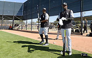 GLENDALE, ARIZONA - FEBRUARY 20:  Left to right, Eloy Jimenez and Luis Robert of the Chicago White Sox prepare to hit during a spring training workout February 20, 2018 at Camelback Ranch in Glendale Arizona.  (Photo by Ron Vesely)  Subject:   Luis Robert; Eloy Jimenez