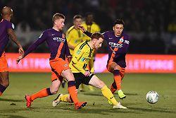 January 23, 2019 - Burton-Upon-Trent, Staffordshire, United Kingdom - Manchester City midfielder Kevin de Bruyne (17) tackles Burton Albion forward Liam Boyce (27) during the Carabao Cup match between Burton Albion and Manchester City at the Pirelli Stadium, Burton upon Trent on Wednesday 23rd January 2019. (Credit: MI News & Sport) (Credit Image: © Mark Fletcher/NurPhoto via ZUMA Press)