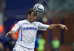 BIRKENHEAD, ENGLAND - Saturday, April 21, 2012: Tranmere Rovers' Danny Holmes in action against Hartlepool United during the Football League One match at Prenton Park. (Pic by David Rawcliffe/Propaganda)