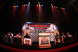 Feb 28; New York, NY, USA; HBO's Ken Hershman speaks during the press conference announcing fight between Floyd Mayweather (left) and Miguel Cotto (right). The two will meet May 5, 2012 at the MGM Grand Garden Arena in Las Vegas, NV.
