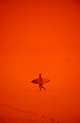 A surfer walks up the sand in a dust storm at Bondi Beach in Sydney, Australia. The severe dust storm is created by strong winds from dry farm land in western and southern parts of NSW and eastern South Australia.