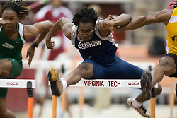 Terrell Gissendanner (Georgetown) in the men's 55m hurdles.  Day 1 of the Virginia Tech Invitational Track and Field meet was held at the Rector Field House on the campus of Virginia Tech in Blacksburg, VA on January 11, 2008.