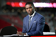 GLENDALE, AZ - SEPTEMBER 25:  ESPN analysts Randy Moss on set during the MNF broadcast prior to the NFL game between the Dallas Cowboys and Arizona Cardinals at University of Phoenix Stadium on September 25, 2017 in Glendale, Arizona.  (Photo by Jennifer Stewart/Getty Images)