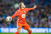 Hannah Hampton (GK) (Birmingham) throws the ball back into play during the FA Women's Super League match between Brighton and Hove Albion Women and Birmingham City Women at the American Express Community Stadium, Brighton and Hove, England on 17 November 2019.