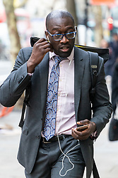 Kwasi Afrifa arrives at the Central London Employment Tribunal on Kingsway, Holborn where he is suing former employer Goldman Sachs for discriminating against him for having ADHD. London, February 12 2019.