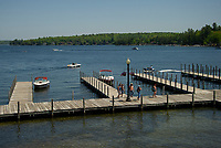Boaters come and go at the Weirs Beach docks on Wednesday afternoon.  (Karen Bobotas/for the Laconia Daily Sun)