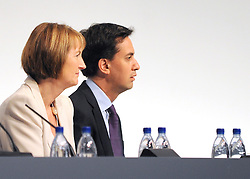 © Licensed to London News Pictures. 26/09/2011. LONDON, UK. Harriet Harmen and Ed Miliband watch The Labour Party Conference in Liverpool today (26/09/11). Photo credit:  Stephen Simpson/LNP