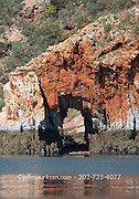 An arch formation in the sandstone escarpment located in the Buccaneer Archipelago off the coast of Western Australia.
