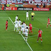 Een van de gespeelde wedstrijden in het nieuwe Nelson Mandela Stadium in Port Elizabeth.