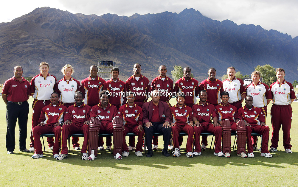The West Indies pose for a team photo before the second ODI cricket match between the New Zealand Black Caps and the West Indies at the Queenstown Events Centre, Queenstown, New Zealand on Wednesday 22 February, 2006. The Black Caps won the match by 3 wickets. Photo: Hannah Johnston/PHOTOSPORT<br /> <br /> <br /> 146974