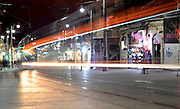 Israel, Jerusalem The newly constructed Light Train rapid urban transport system in Jaffa Street at night