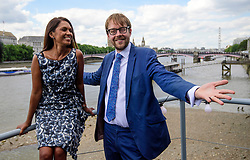 © Licensed to London News Pictures. 01/06/2017. London, UK. Pro-EU campaigner GINA MILLER and Lib Dem candidate for Vauxhall GEORGE TURNER in a static boat on the River Thames, in front of the Houses of Parliament. Mrs Miller and Lib Dem candidate George Turner are recreating a stunt by former UKIP leader Nigel Farage during the EU referendum campaign, to campaign for tactical voting ahead of the General Election on June 8. Photo credit: Ben Cawthra/LNP