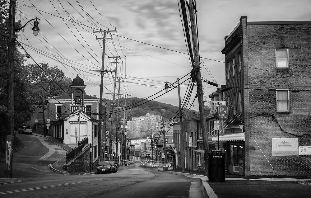 Ellicott City Main Street at dusk.