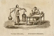 Stocking maker  -  China.  Engraving, 1812.