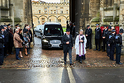 © Licensed to London News Pictures. 14/10/2019. Oxford, UK.  Funeral of PC Andrew Harper in Christ Church, Oxford. In this picture: The funeral cortege leaving after the service. Photo credit: Cliff Hide/LNP