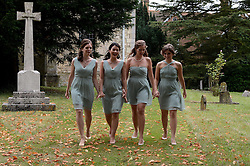Bridesmaids at the Former Prime Minister Tony Blair's Son Euan Blair Wedding to Suzanne Ashman at All Saints Church in  Wotton Underwood, United Kingdom. Saturday, 14th September 2013. Picture by Ben Stevens / i-Images<br /> <br /> Picture are the bridesmaids at All Saints Church.