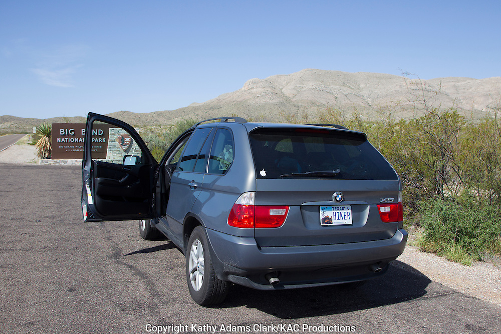 Gray BMW X5 in Big Bend National Park, Texas, west Texas,
