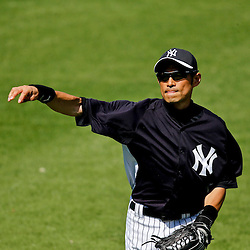 Feb 28, 2013; Tampa, FL, USA; New York Yankees right fielder Ichiro Suzuki (31) in the field during the top of the fourth inning of a spring training game against the Toronto Blue Jays at George Steinbrenner Field. Mandatory Credit: Derick E. Hingle-USA TODAY Sports