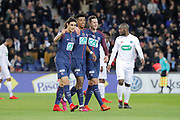 Edinson Roberto Paulo Cavani Gomez (psg) (El Matador) (El Botija) (Florestan), Presnel Kimpembe (PSG), Julian Draxler (PSG) celebrated the goal scoed by player of Guingamp against it team from the free kick of Angel Di Maria (psg) during the French Cup, round of 32, football match between Paris Saint-Germain and EA Guingamp on January 24, 2018 at Parc des Princes stadium in Paris, France - Photo Stephane Allaman / ProSportsImages / DPPI