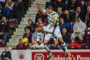 Celtic FC Defender Mikael Lustig attacks the ball during the Scottish League Cup presented by Ulilita Energy quarter final match between Heart of Midlothian and Celtic at Tynecastle Stadium, Gorgie, Scotland on 28 October 2015. Photo by Craig McAllister.