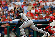 27 Sept 2008: Washington Nationals center fielder Lastings Milledge #44 hits the ball during the game against the Philadelphia Phillies on September 27th, 2008. The Phillies won 4-3 to clinch the National League Eastern Division title at Citizens Bank Park in Philadelphia, Pennsylvania