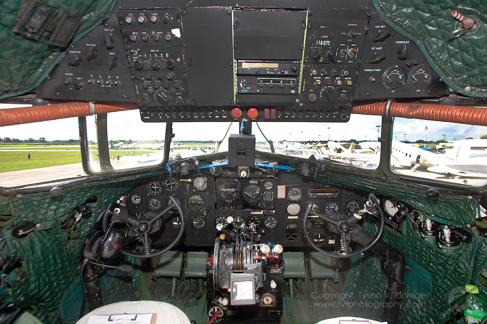"""A view of the instrument panel inside an ex-Israeli C-47 named """"Judy"""", N150D. The aircraft originally spent time with the USAAF as AF 41-18401."""